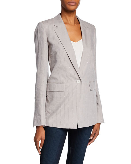 Lafayette 148 New York Rhoda Illustrious Linen One-Button Blazer