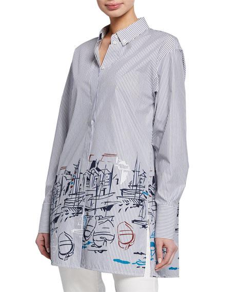 Lafayette 148 New York Kehlani Striped Lido-Print Button-Down Long-Sleeve Blouse