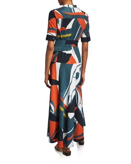 Lafayette 148 New York Augustina Artisan Abstract-Printed Short-Sleeve Crepe Dress