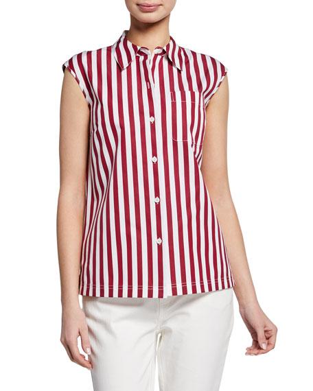 Lafayette 148 New York Yani Strada-Stripe Button-Front Sleeveless Blouse