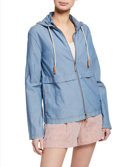 Lafayette 148 New York Joe Artisan Chambray Zip-Front Hoodie Jacket