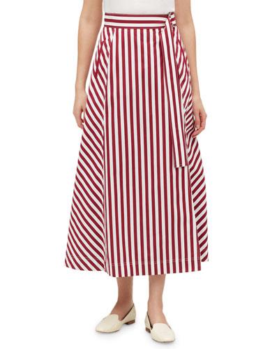 Nimah Strada-Stripe Midi Cotton Skirt