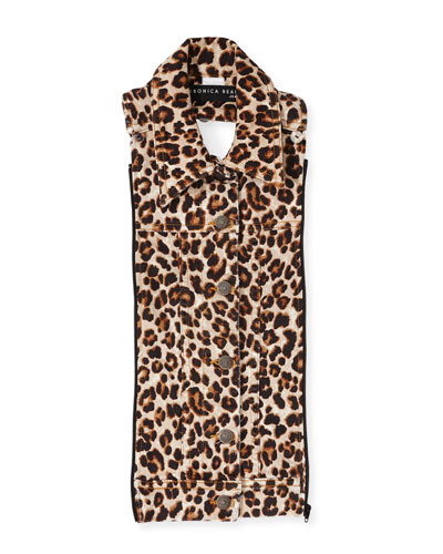 Slate Leopard-Print Dickey
