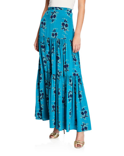 Serence Tiered Floral Silk Maxi Skirt