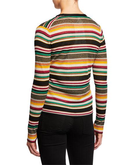 Veronica Beard Keke Striped Ribbed Cardigan