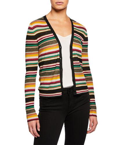 Keke Striped Ribbed Cardigan