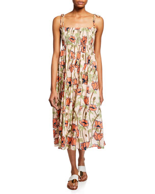 61378411ea Tory Burch Painted Iris Floral-Print Sleeveless Midi Coverup Sun Dress