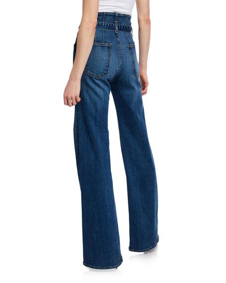 Veronica Beard Rosanna Corset Wide-Leg Belted Jeans