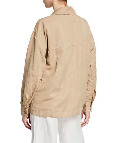 Eileen Fisher Notched-Collar Open-front Woven Jacket
