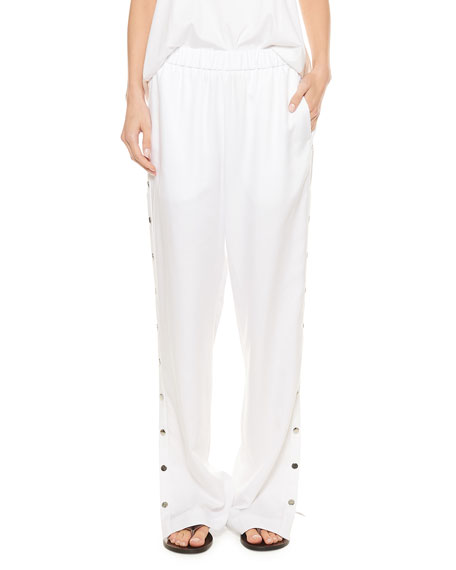 Tibi Spring Suiting Pull-On Pants with Snaps