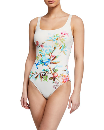 Plus Size Lei Floral One-Piece Swimsuit