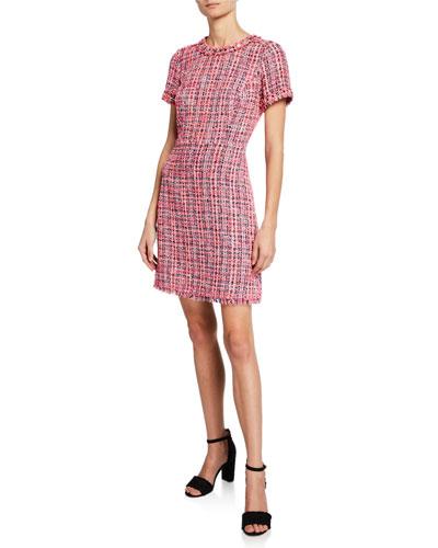 multi tweed short-sleeve sheath dress