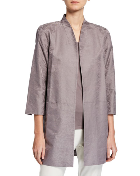 Eileen Fisher Marble Satin Jacquard Open-Front 3/4-Sleeve Jacket