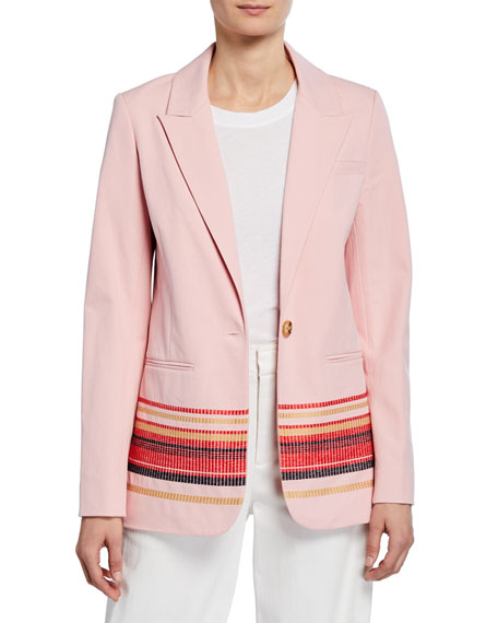 Derek Lam 10 Crosby Single-Button Blazer with Embroidery