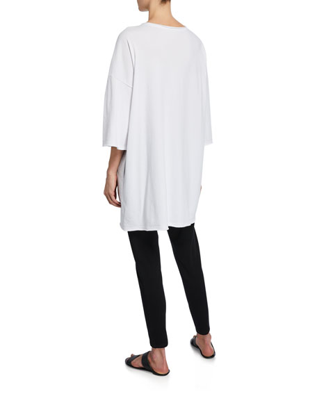 Eileen Fisher French-Terry 3/4-Sleeve Raw-Edge Pocket Tunic