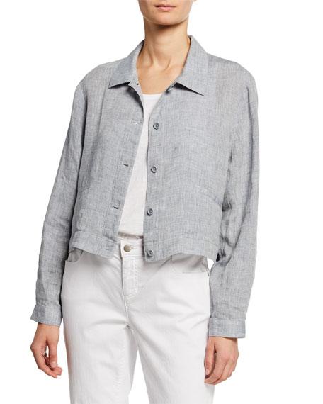 Eileen Fisher Button-Front Yarn-Dye Hanky Organic Linen Crop Jacket