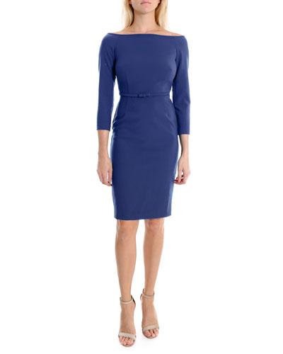 Duchess Off-Shoulder Cocktail Dress w/ Belt Detail