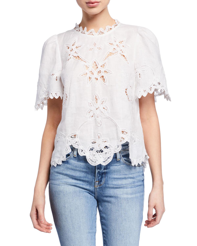 02f07af9412 Rebecca Taylor Terri Embroidered Short-Sleeve Top