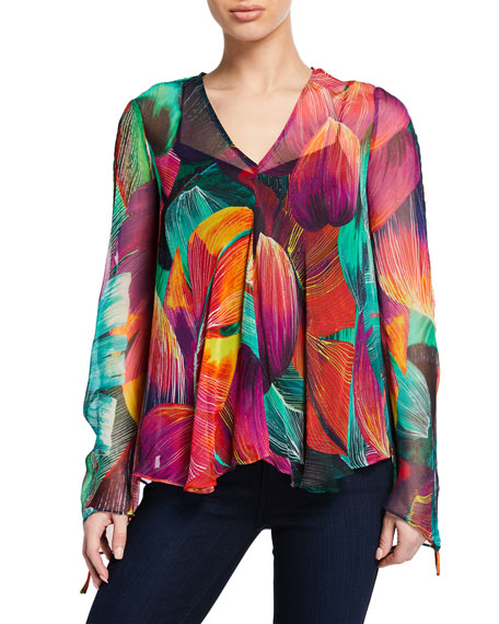 PINKO Cecilia Leaf-Print Flared Long-Sleeve Blouse