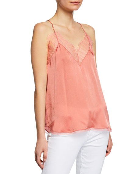 Image 1 of 2: Iro Berwyn Silk Cami with Lace Trim