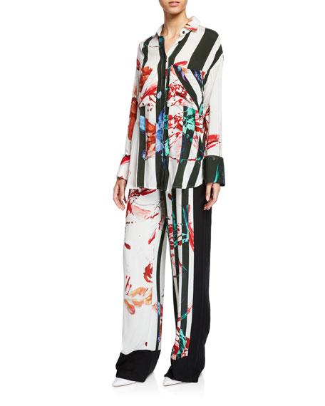 palmer//harding Boyfriend Striped Floral Viscose Button-Up Shirt