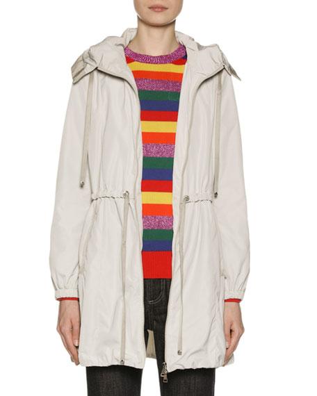 Moncler Topaze Long Self-Tie Top Coat w/ Hood
