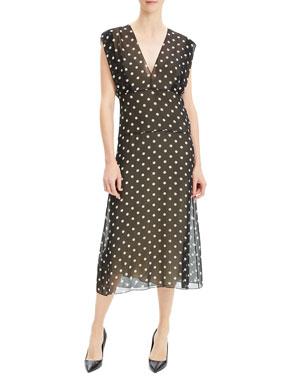 d967871d4a46 Theory Deep V Dot-Print Sleeveless Silk Midi Dress