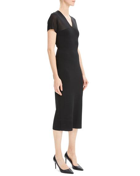Theory Short-Sleeve V-Neck Kimono Midi Dress