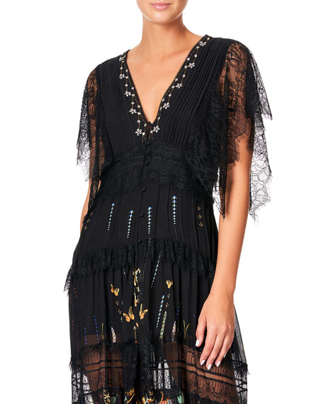 Camilla Button-Up Dress with Lace Insets