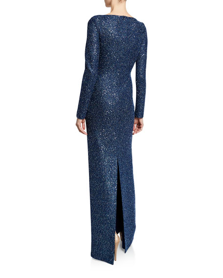 St. John Collection Luxe Sequin V-Neck Long-Sleeve Column Gown with Twist Front