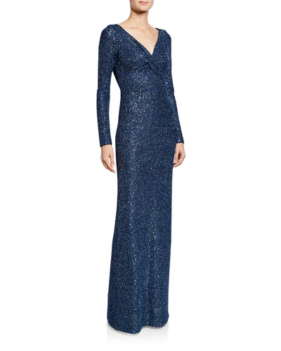 Luxe Sequin V-Neck Long-Sleeve Column Gown with Twist Front