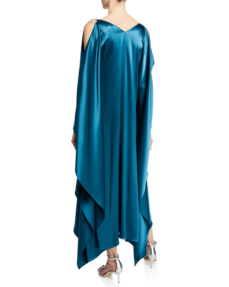 St. John Collection Liquid Satin Drape Asymmetric Dress