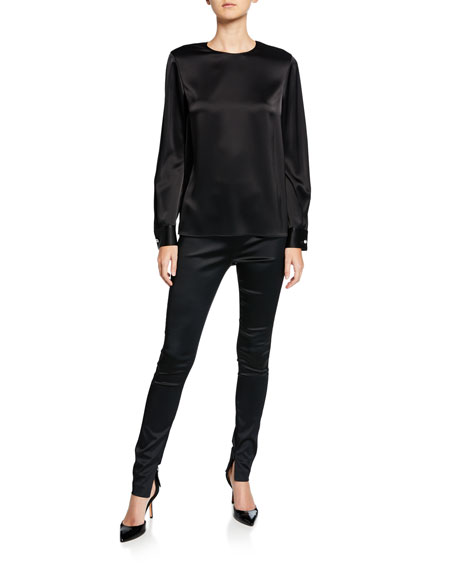 St. John Collection Satin Zip-Cuff Skinny Ankle Pants