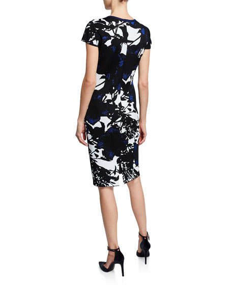 St. John Collection Graphic Floral Jacquard Short-Sleeve Dress w/ Back Slit