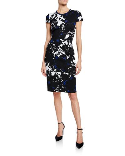 Graphic Floral Jacquard Short-Sleeve Dress w/ Back Slit