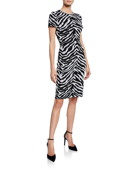 St. John Collection Zebra Jacquard Short-Sleeve Knit Dress