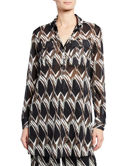 Image 1 of 3: St. John Collection Abstract Floral Tile-Print Button-Down Long-Sleeve Georgette Tunic