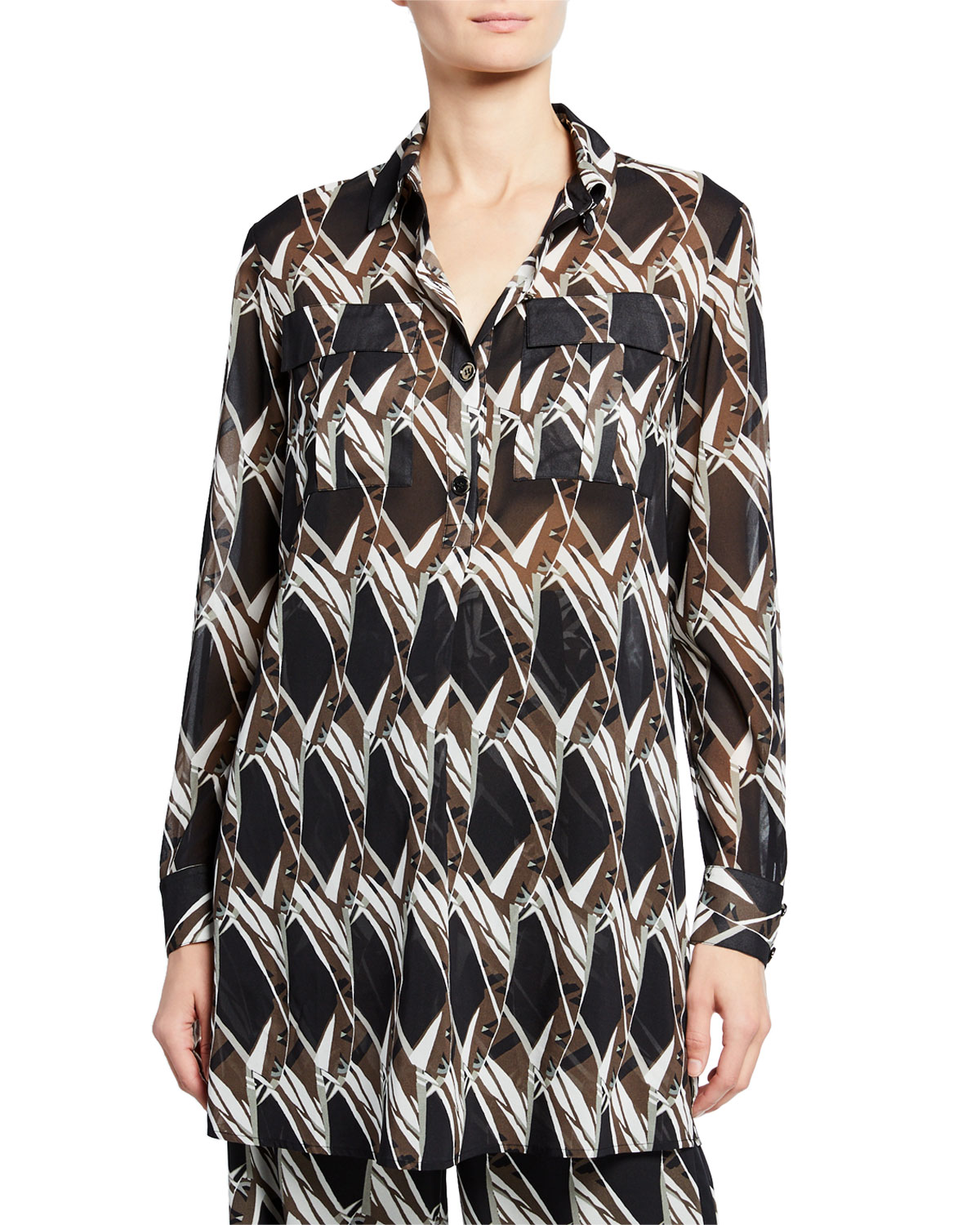 St. John Collection Abstract Floral Tile-Print Button-Down Long-Sleeve Georgette Tunic