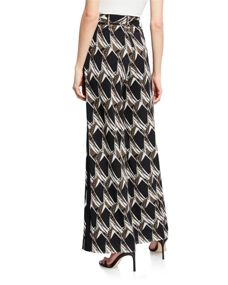 St. John Collection Abstract Floral Tile-Print Silk Georgette Wide-Leg Pants