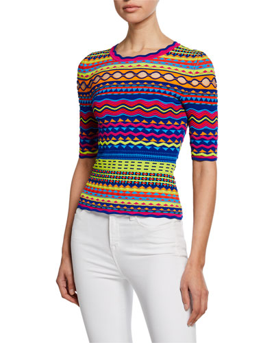 Technicolor Textured Crewneck Pullover