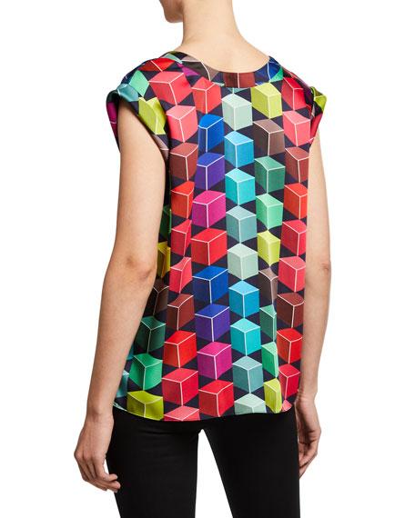 Milly Carmen Geometric-Print V-Neck Cap-Sleeve Top