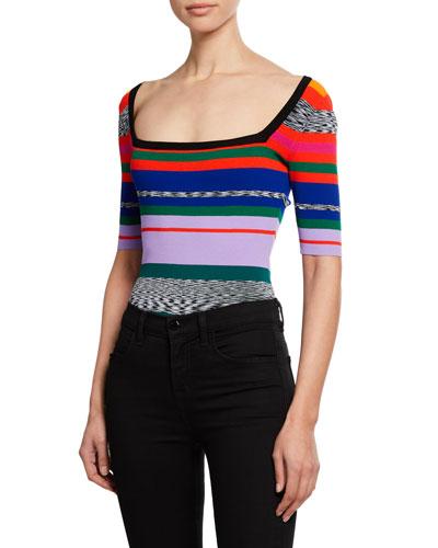 Space-Dye Rainbow-Stripe Square-Neck Tee