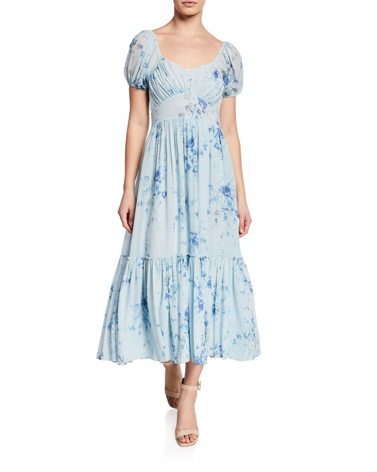 5390ad3ac5d Loveshackfancy Angie Floral-Print Square-Neck Short-Sleeve Maxi Dress