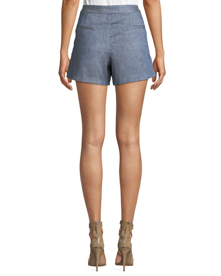 Veronica Beard Hoya Viscose-Linen High-Waist Shorts