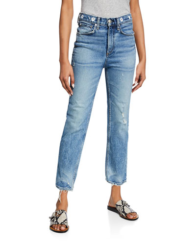 Maya High-Rise Ankle Straight Jeans w/ Grommets