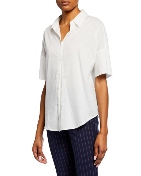 Rag & Bone Short-Sleeve Cotton Button-Up Top