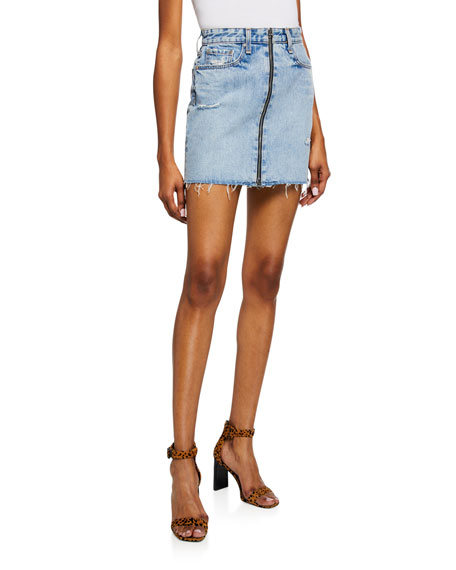 Rag & Bone Anna Zip-Front Frayed Denim Mini Skirt