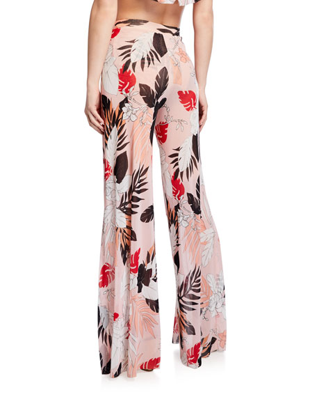 Fuzzi Slit Floral Wide-Leg Coverup Pants