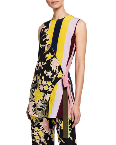 Sedona Mixed-Print Sleeveless Top