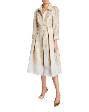 cef228b9d7f Rickie Freeman for Teri Jon 3 4-Sleeve Burnout Jacquard Shirtdress